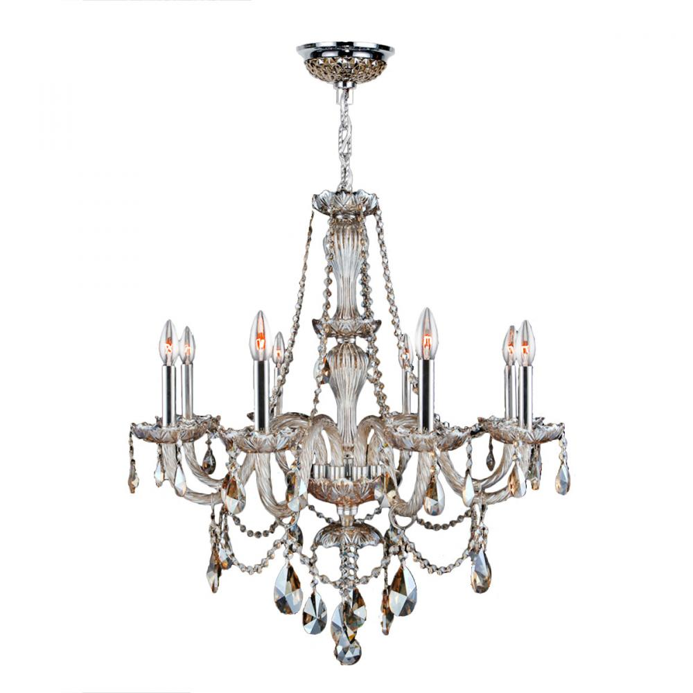 Worldwide Lighting Provence Collection 4 Light Chrome Finish and Smoke Crystal Chandelier 23 D x 25 H Medium